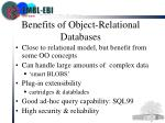 benefits of object relational databases