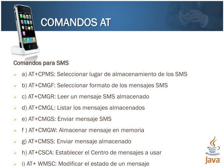 Comandos para SMS