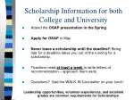scholarship information for both college and university1