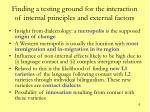 finding a testing ground for the interaction of internal principles and external factors