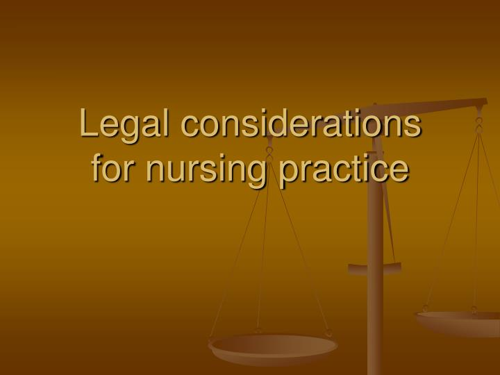 legal considerations for nursing practice n.