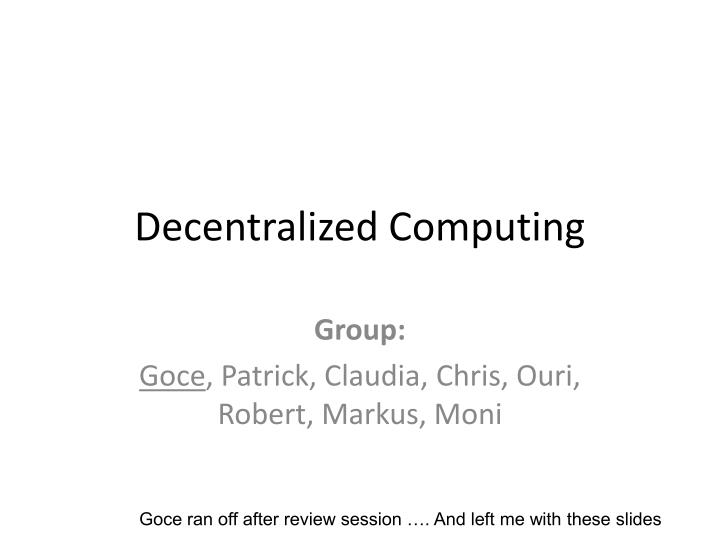 decentralized computing n.