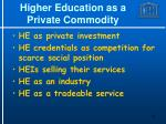 higher education as a private commodity