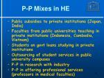 p p mixes in he1