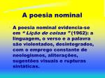 a poesia nominal