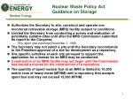 nuclear waste policy act guidance on storage