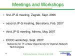 meetings and workshops