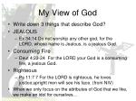 my view of god