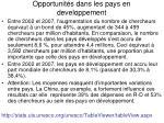 opportunit s dans les pays en developpement