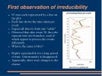 first observation of irreducibility