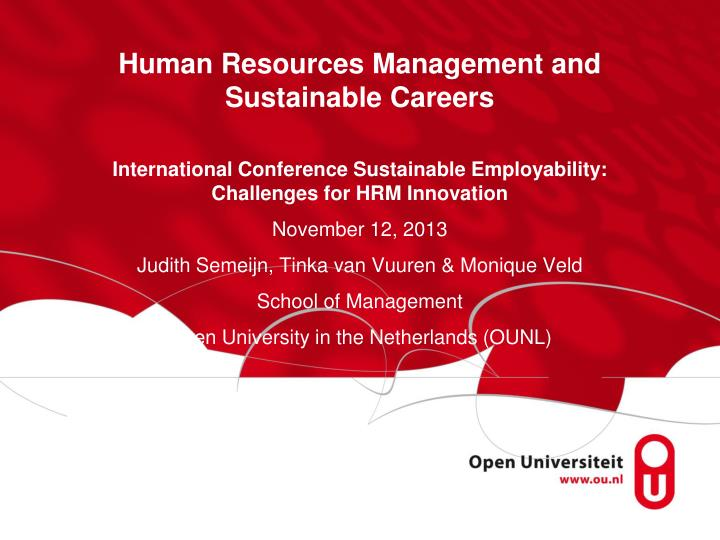 human resources management and sustainable careers n.