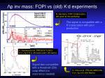p inv mass fopi vs old k d experiments
