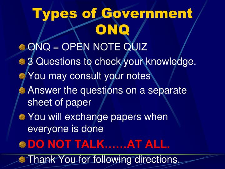 types of government onq n.