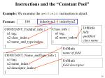 instructions and the constant pool1