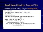 read from random access files