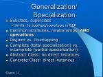 generalization specialization