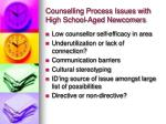 counselling process issues with high school aged newcomers