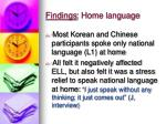 findings home language