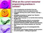 what are the current newcomer programming practices in schools