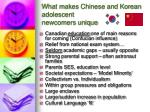 what makes chinese and korean adolescent newcomers unique