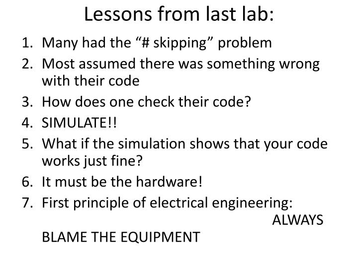 lessons from last lab n.