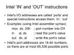 intel in and out instructions