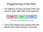 programming of the dac