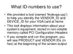what id numbers to use