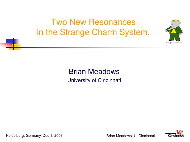 two new resonances in the strange charm system n.