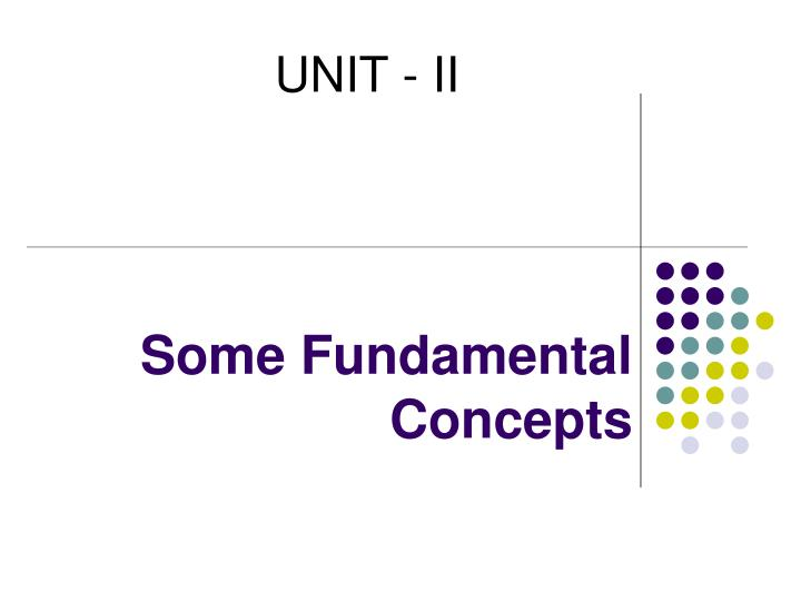 some fundamental concepts n.