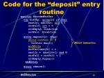 code for the deposit entry routine1