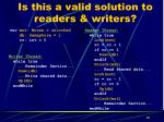 is this a valid solution to readers writers