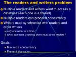 the readers and writers problem