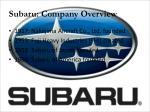 subaru company overview