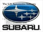 the u s automotive industry