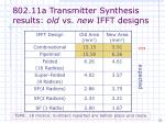 802 11a transmitter synthesis results old vs new ifft designs