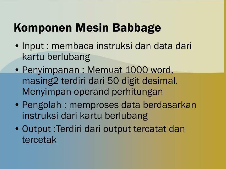Komponen Mesin Babbage