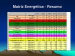 matriz energ tica resumo