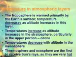 temperature in atmospheric layers