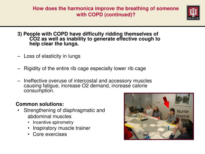 How does the harmonica improve the breathing of someone