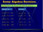 some algebra revision