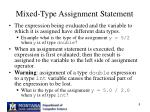 mixed type assignment statement