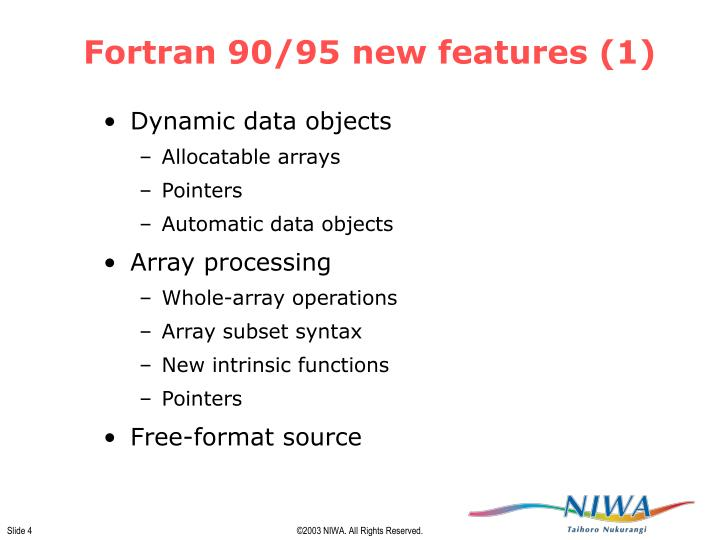 Fortran 90/95 new features (1)