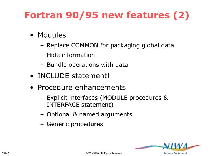 Fortran 90/95 new features (2)