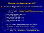 numbers and operations in z2