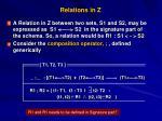 relations in z