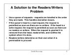 a solution to the readers writers problem