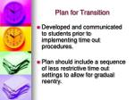 plan for transition