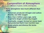 composition of atmosphere mixture of gases solids and liquids