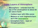upper layers of atmosphere